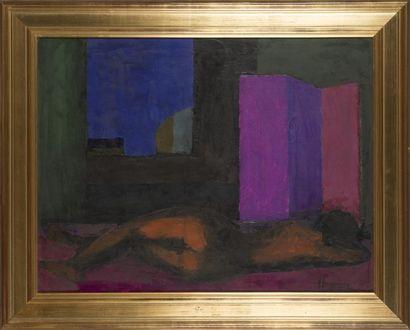 HUGUENIN (XX- XXIème) Femme allongée Huile...