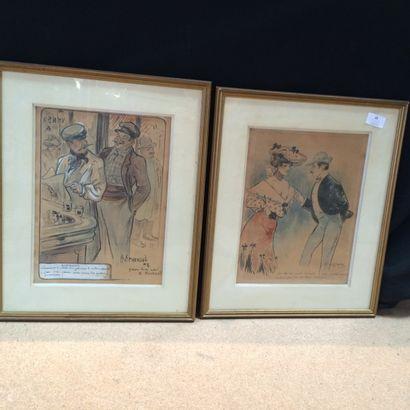 H . ARMENGOL (XXème siècle) Paire de dessins:...
