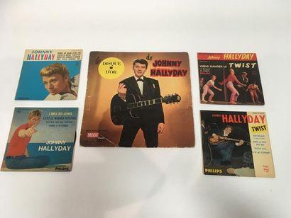 Johnny HALLYDAY Lot de cinq disques dont...