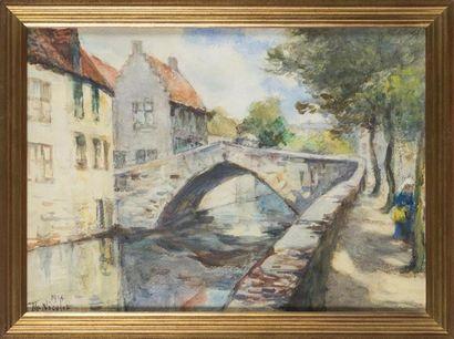 Th NICOLET Le pont dans le village Aquarelle,...