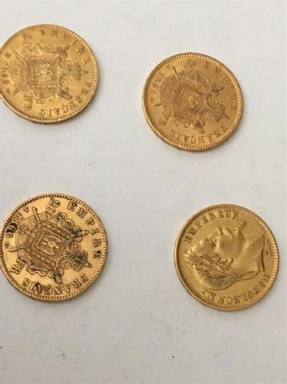 Quatre pièces de 20 francs Napoléon III ...