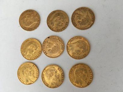 9 pièces de 20 francs or Napoléon III