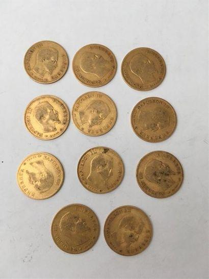11 pièces de 10 francs Nap II tête nue