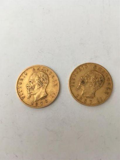 Deux pièces de 20 Lires VE II