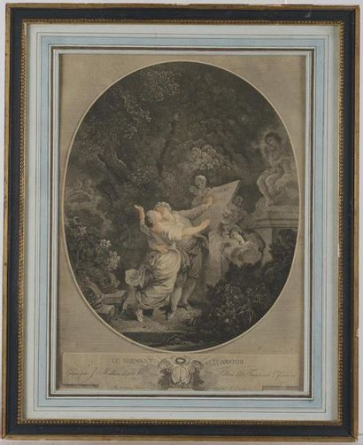 Gravure d'après Fragonard Le Serment d'Amour...