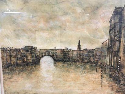 Le Grand Canal Pont du Rialto Lithographie...