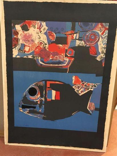 Roger Bezombes Poisson Lithographie Epreuve...