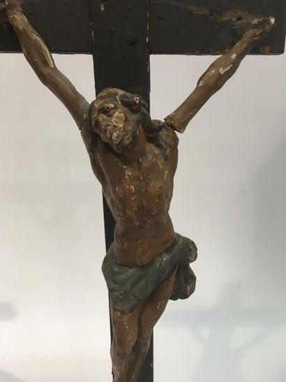 Christ en bois polychrome, 19ème H Chriist...
