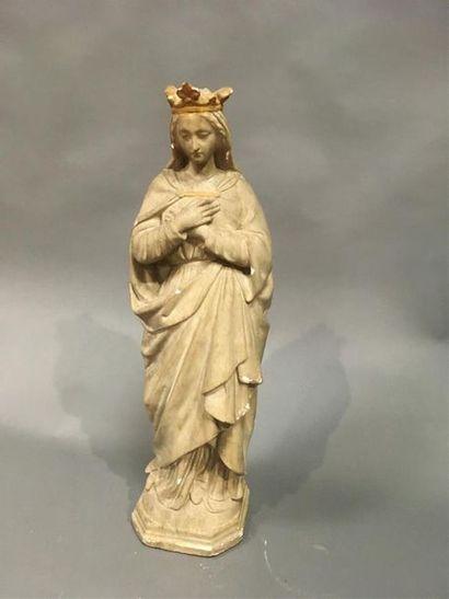 Vierge Sculpture en plâtre patiné accidents...