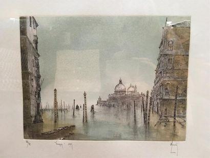 Bernard LOUEDIN (1938). Venezia. Lithographie...