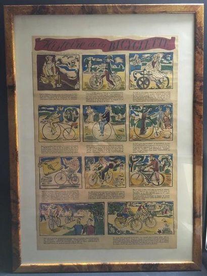 HISTOIRE DE LA BICYCLETTE Lithographie