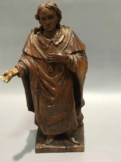 Figure de saint en bois XIXe H : 32cm