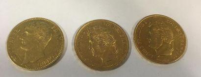 Trois pièces de 40 francs or AN X et 1833...