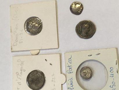 6 monnaies romaines , gauloise et grecque...