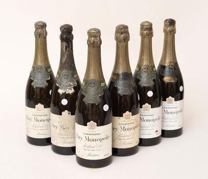 Champagne Heidsieck 6 bottles CHAMPAGNE HEIDSIECK & CO 1955 Dry Monopole (estimated...