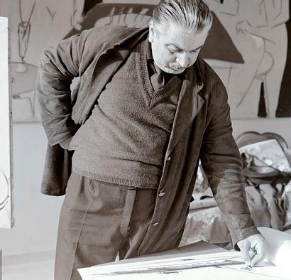 SANTE MONACHESI Sante MONACHESI (1910-1991) - Paysage- Dessin au fusain - Signé en...
