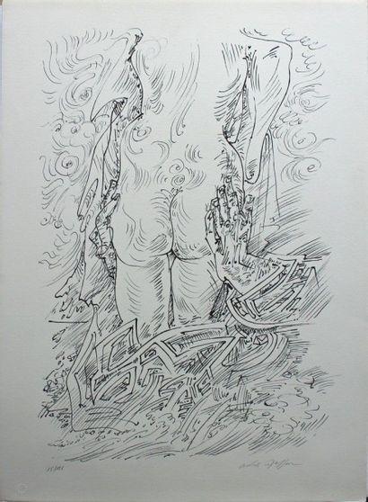 André MASSON (1896-1987) Série érotique Lithographie signée en bas à droite au crayon...