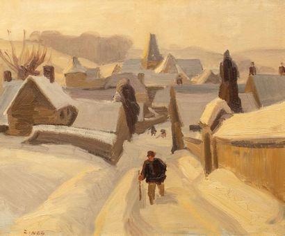 Jules-Emile ZINGG (1882-1942) - Maisons sous la neige - Huile sur toile - Signée...