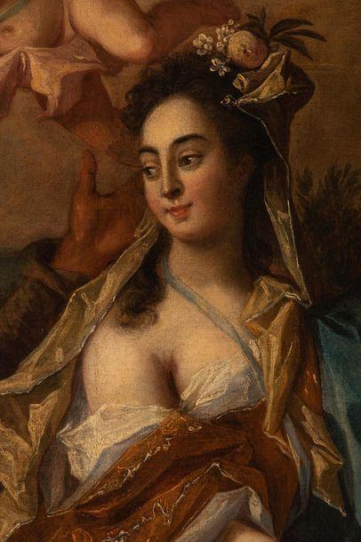 Ecole de TURIN vers 1720 - Vertumne et Pomone - Huile sur toile - 100 x 175 cm (Rentoilée)....