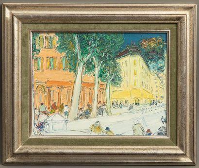 Jean FUSARO (Né en 1925) - Les flâneurs sur le port - Huile sur toile - Signée en...
