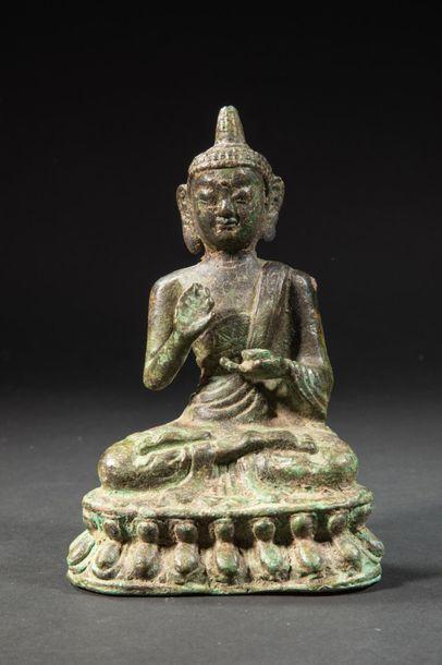 Bouddha assis en méditation.Bronze.Art sino-tibétain.H...