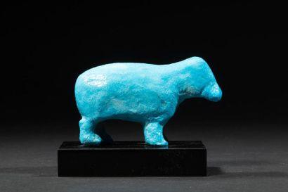 Hippopotame en fritte bleue.Epoque tardive.L...