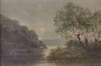 Ecole française fin XIX – Lac arboréHuile...