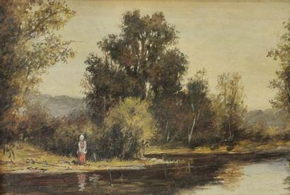 Ecole Française XIXème - Femme au lac - Huile...