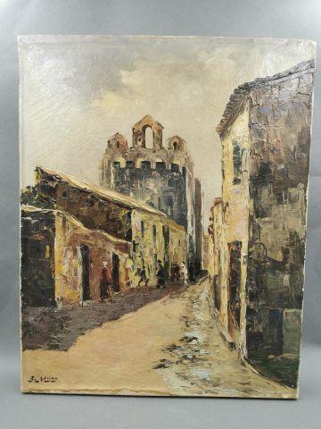 MEYER - Rue de village - Huile sur toile...