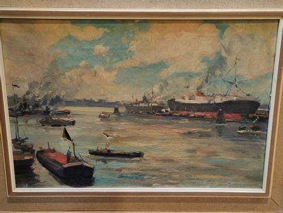 Lot de tableaux - Vue du port, La maison...