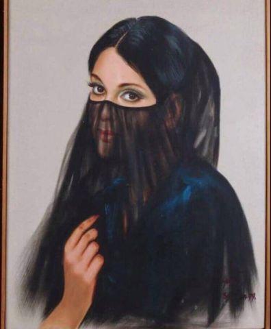 Yang SAUDIA. 1979.Femme voilée. Huile sur...