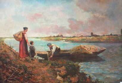 LECOMTE Louis (XXème)- Retour de pêche- Huile...