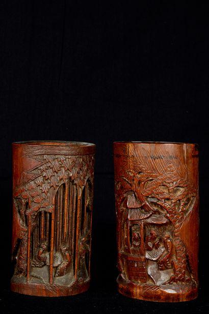 Chine, XXème siècle. Deux bitongs en bambou...