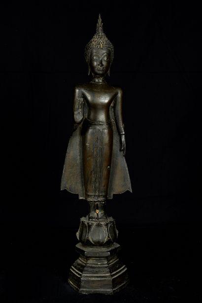 Laos, début XXème siècle. Bouddha debout...
