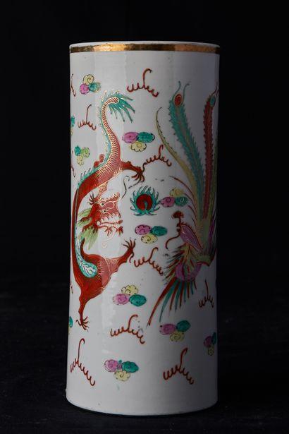 Chine, XXème siècle. Lot composé d'un vase...