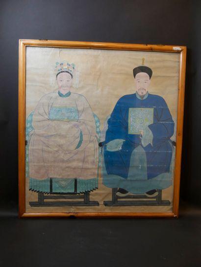 CHINE, circa 1900. Peinture d'un couple de...