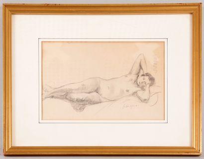 Henri LEBASQUE (1865-1937) - Nu allongé sur...