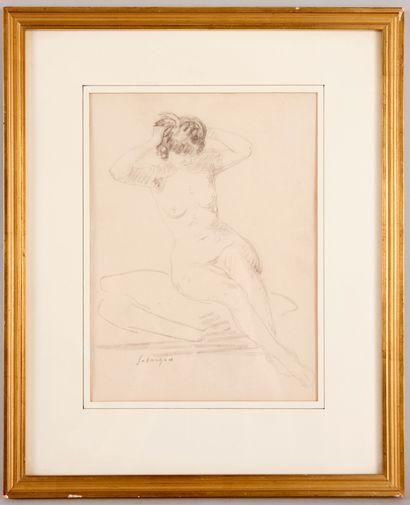Henri LEBASQUE (1865-1937) - Nu assis se...