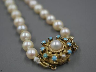 Collier de perles de culture en chute - Fermoir...