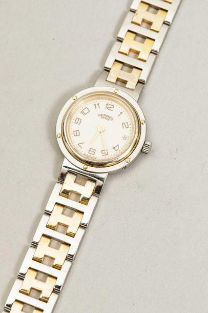 HERMES PARIS - Bracelet montre en acier et...
