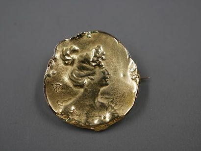 Broche Art Nouveau en or jaune 18k, représentant...