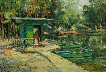J. MILLON (XXe) - Le lac des Minimes à Vincennes...