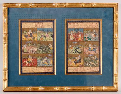 Deux pages de miniatures persanes gouachées...