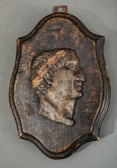 Profil d'Empereur en plomb doré sur un médaillon...