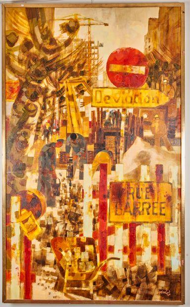 Michel KING (né en 1930) - La rue barrée...