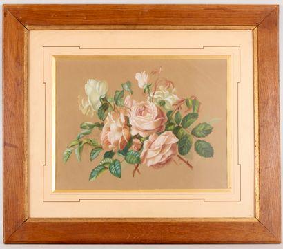 S de VIRY (XIXe-XXe siècle) - Roses blanches...