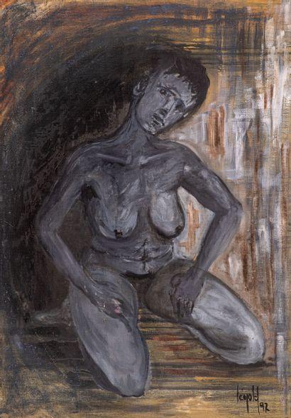 LEOPOLD, Nu gris, 1992, huile sur toile, signée en bas à gauche, 93 x 65 cm.
