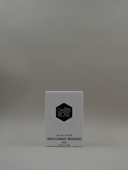 JEAN-CHARLES BROSSEAU « Ombre rose »  Flacon en verre, panse à découpe géométrique...