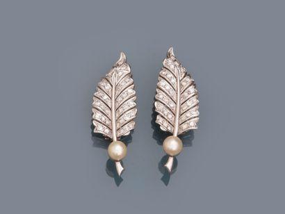Clips d'oreilles feuilles en or gris 18k...