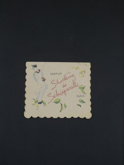 SCHIAPARELLI « Shocking »  Rare double carte, titrée « Shocking de Schiaparelli...